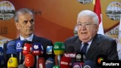 이번 주 미국을 방문한 이라크 쿠르드족 출신 나지말딘 카림 키르쿠크 주지사(오른쪽)가 3일 기자회견을 열고 미국 관리들에게 ISIL과 전투에 필요한 지원을 늘려줄 것을 요청했다.