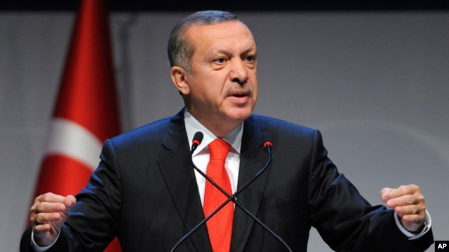 FILE - Turkey's Prime Minister Recep Tayyip Erdogan addresses a forum in Istanbul, Turkey, Oct. 13, 2012.