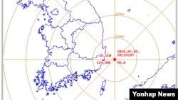 5일 오후 한국 동남부 울산 동쪽 52㎞ 해상에서 규모 5.0의 지진이 발생했다. 이 지진으로 부산, 경남, 경북과 광주 일대까지 지진동이 감지됐다. 사진은 지진발생 지점 표시 지도.