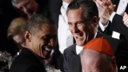 奧巴馬和羅姆尼在慈善晚宴上