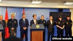 Crnogorski ministar unutrašnjih poslova Raško Konjević na konferenciji za novinare