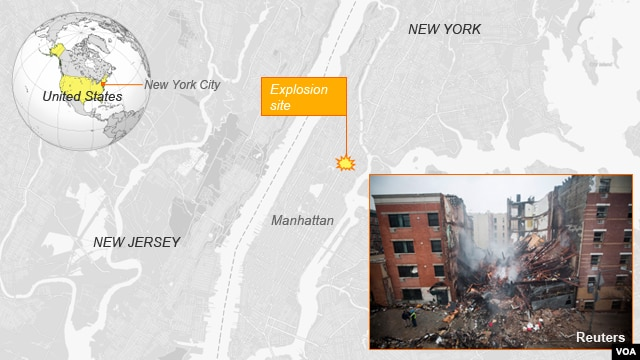 Explosion in Harlem, New York.