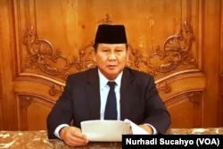 Menhan Prabowo Subiyanto memaparkan pentingnya ketahanan pangan bagi Indonesia. (Foto: VOA/Nurhadi Sucahyo)