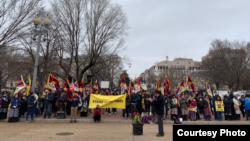藏人抗議者在華盛頓舉行抗議。 (資料照)