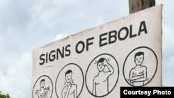 Cartaz distribuído na Libéria e na Serra Leoa, alertando as pessoas para os sinais de ébola