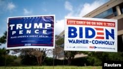 美國弗吉尼亞州路邊同時出現支持特朗普和拜登的宣傳牌(路透社資料照)