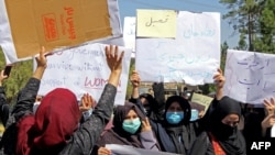 افغان طالبان کے خلاف خواتین ہرات میں احتجاجی مظاہرہ کر رہی ہیں۔