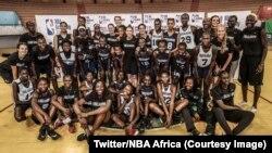 Des basketteuses sélectionnées dans 8 pays africains, au premier camp d'entraînement féminin de la NBA en Afrique, Dakar, 12 mai 2018. (Twitter/NBA Africa)