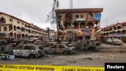 지난 26일 나이지리아 수도 아부자에 있는 한 쇼핑몰에서 발생한 폭탄 테러 현장 (자료사진)