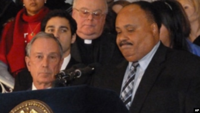 Martin Luther King III speaking with Mayor Bloomberg at a press conference to call for gun control