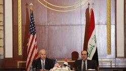 جو بایدن معاون رئیس جمهوری آمریکا و نوری المالکی نخست وزیر عراق در کنفرانس خبری روز چهارشنبه نهم آذر در بغداد
