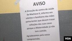 Aviso na Maternidade do Centro de Saúde da Machava II