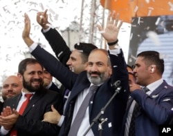 Newly elected Prime Minister of Armenia Nikol Pashinyan addresses the crowd in Republic Square in Yerevan, Armenia, May 8, 2018.