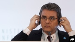 FILE - World Trade Organization, WTO, Director General Roberto Azevedo, of Brazil.
