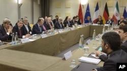 Phiên họp về chương trình hạt nhân của Iran giữa các nhà đàm phán nhóm P5+1 và Iran, trước đây ở Lausanne, Thuỵ Sĩ