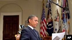 صدر اوباما ہفتہ وارتقریرکرتے ہوئے