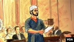 Sketsa gambar Faisal Shahzad (berdiri), dalam sidang peradilan di pengadilan New York hari ini.