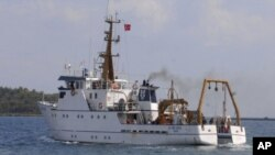 Seismic exploration vessel Piri Reis leaves from Urla port in the Aegean city of Izmir, western Turkey, September 23, 2011.