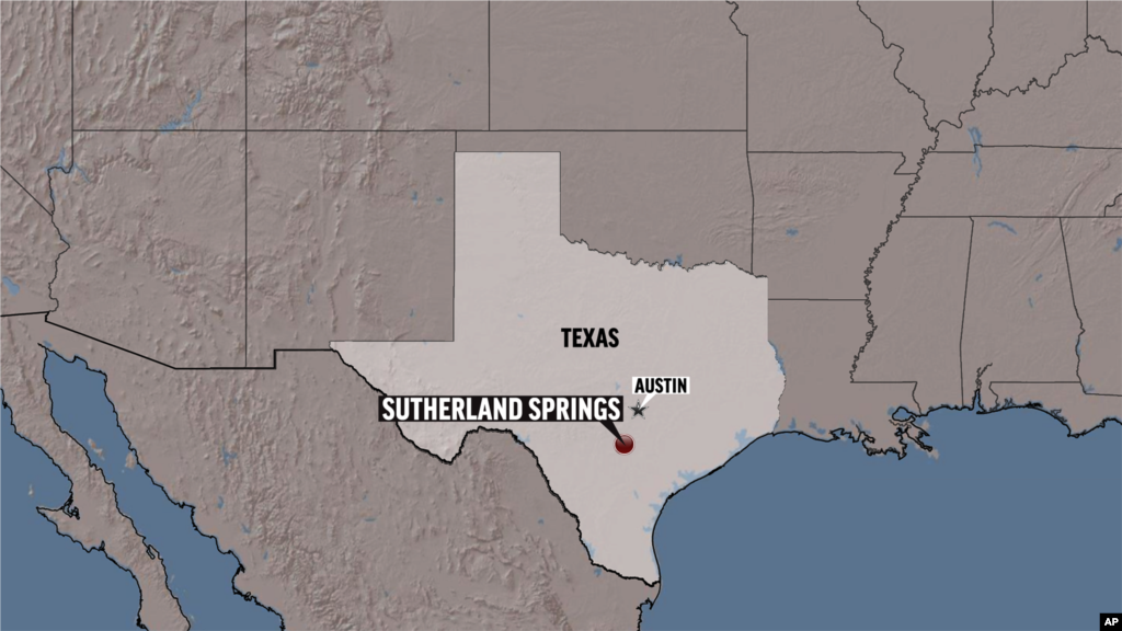 A map showing the location of Sutherland Springs, Texas.