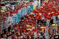 9일 홍콩 시내에서 '범죄인 인도법안' 상정에 반대하는 대규모 시위가 열렸다.