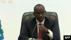 Richard Sezibera, ministre rwandais des Affaires étrangères lors d'une conférence de presse sur l'arrestation de Callixte Nsabimana à Kigali, Rwanda, le 30 avril 2019.