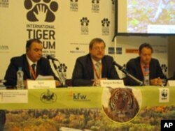 Germany's Deputy Minister of Germany's Federal Ministry of Environment Juergen Becker addressing the Tiger Summit in Moscow.