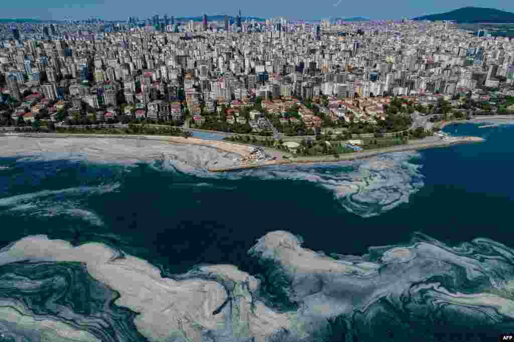 U Mramornom moru u luci na obali Istanbula sluz slična želeu širi se na površini vode usled prekomerne proliferacije fitoplanktona, ozbiljno ugrožavajući morsku floru i faunu. 6. juni, 2021. ( Foto: Jasin Akgul / AFP )