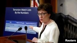 Thượng nghị sĩ Đảng Cộng hoà Susan Collins phát biểu tại một cuộc họp báo ở Điện Capitol, 21/6/2016.