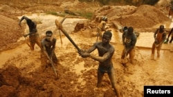 Artisanal miners dig for gold in an open-pit concession near Dunkwa, western Ghana, February 15, 2011.
