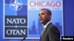 U.S. President Barack Obama holds a news conference after the 2012 NATO Summit in Chicago at McCormick Place in Chicago, May 21,