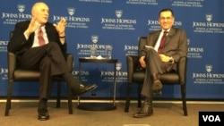 美国著名政治学者,前国防部官员约瑟夫·奈星期三在华盛顿约翰霍普金斯大学高级国际问题研究院(SAIS)就美国和世界秩序发表演讲。(2017年3月1日,美国之音斯洋拍摄)