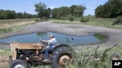 9일 계속된 가뭄으로 말라붙어가는 네브래스카 주의 연못.