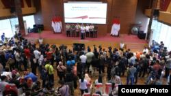 Suasana konferensi pers soal Covid-19 di Gedung BNPB, Jakarta, Sabtu, 14 Maret 2020. (Foto: BNPB)