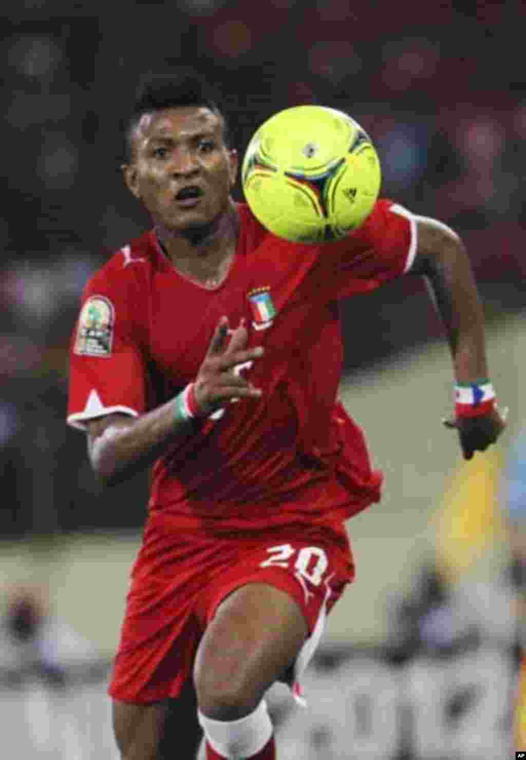 Bladimir Ekoedo of Equatorial Guinea runs after the ball during their African Nations Cup soccer match against Zambia in Malabo January 29, 2012.