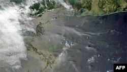 卫星拍摄的墨西哥湾泄漏油污图
