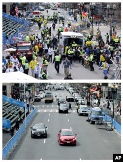 Ảnh chụp con đường Boylston gần đích đến của cuộc đua marathon ở Boston hồi năm ngoái (hình trên) và bây giờ.