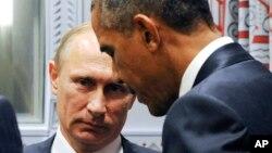 Le président américain Barack Obama et le président russe Vladimir Poutine au siège de l'Onu à New York, le 28 septembre 2015