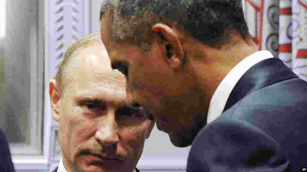 Shugaba Obama Da Shugaban Kasar Rasha Vladimir Putin Kafin A Fara Taron Majalisar Dinkin Duniya Da Ake Gudanarwa A Birnin New York, Satumba 29, 2015.