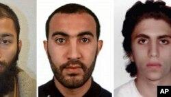 Une photographie regroupant les trois auteurs identifiés par la police britannique: Khuram Shazad Butt, à gauche, Rachid Redouane, au centre, et Youssef Zaghba, à droite.