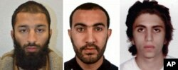 This is undated three photo combo handout photo issued by the Metropolitan Police on Tuesday June 6, 2017 of Khuram Shazad Butt, left, Rachid Redouane, centre and Youssef Zaghba who have been named as the suspects in Saturday's attack at London Bridge.