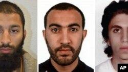 Trojica napadača iz Londona (s leva na desno): Kuram Šazad But, Rašid Reduan i Jusef Zagba. Fotografiju je objavila Londonska policija.
