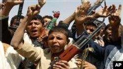 在也門首都薩那的反薩利赫總統示威