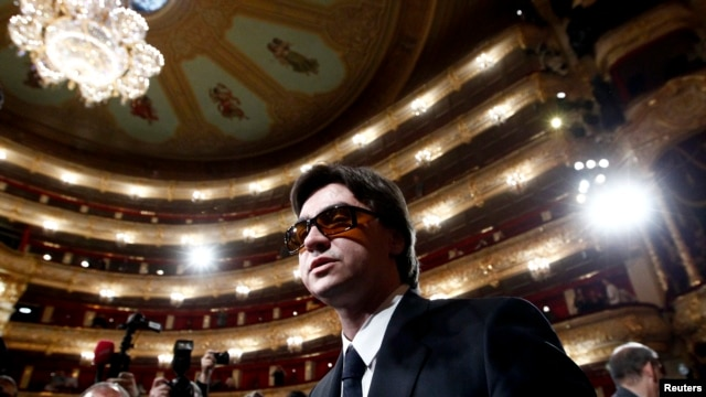 Sergei Filin attends a meeting with dancers at the Bolshoi Theater in Moscow, Sept. 17, 2013.