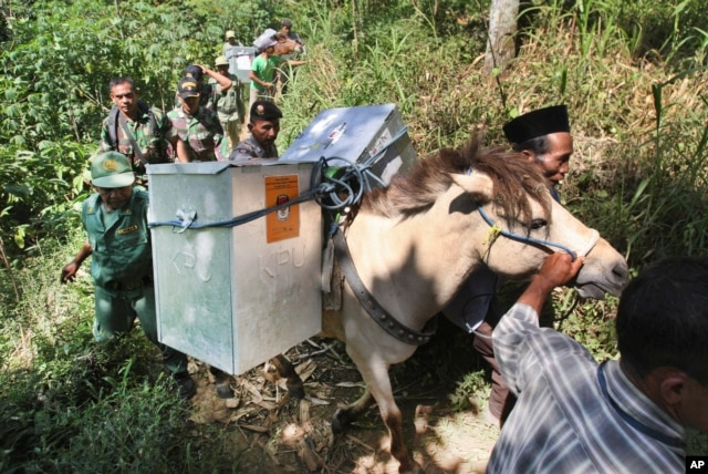 Electoral workers, escorted by police officers and soldiers, use horses to transport ballot boxes to polling stations in remote areas in Tlogosari, East Java, Indonesia, July 8, 2014.
