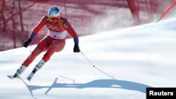 Aksel Lund Svindal (Norwegia) saat beraksi dalam nomor pertandingan Downhill Putra di Pusat Alpine Jeongseon, Pyeongchang, Korea Selatan, 15 Februari 2018.