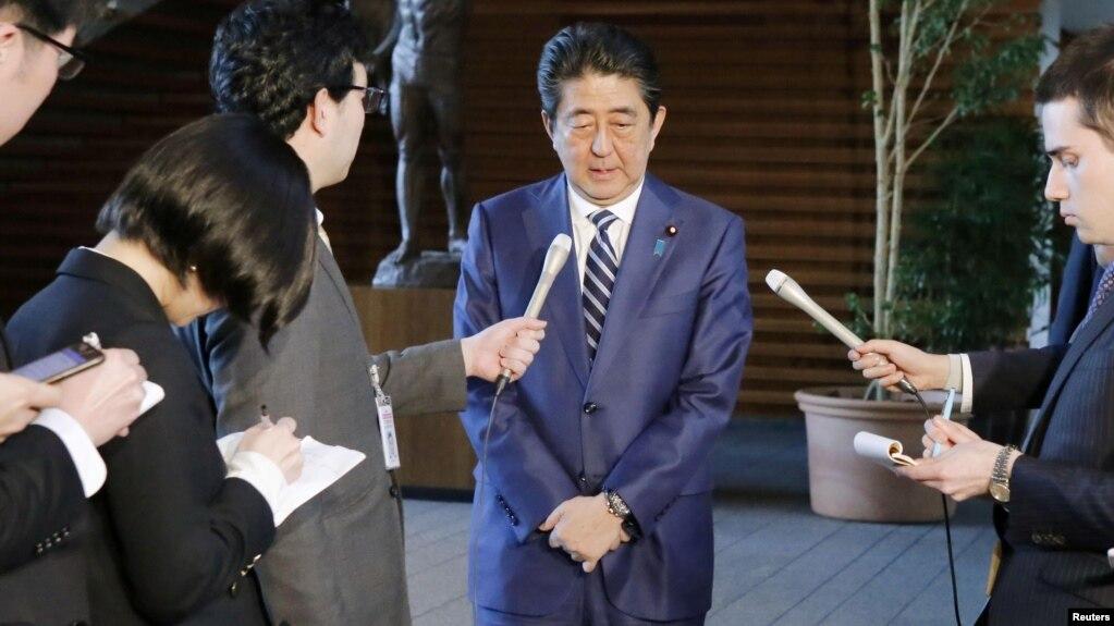 Thủ tướng Shinzo Abe xin lỗi công chúng tại cuộc họp với báo chí ở Tokyo ngày 12/3/2018.