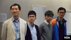 香港立法會議員姚松炎(左起)、羅冠聰、香港眾志秘書長黃之鋒、立法會議員朱凱迪,召開記者會譴責暴力襲擊。(美國之音湯惠芸攝)
