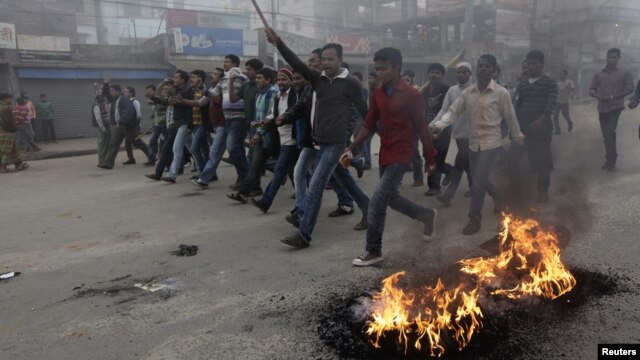 Các nhà hoạt động của Quốc dân đảng Bangladesh biểu tình trong thủ đô Dhaka, 9/12/12