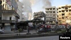 28일 시리아의 수도 다마스쿠스 인근 자라마나에서 일어난 폭탄테러. 시리아 관영통신 '사나' 보도.