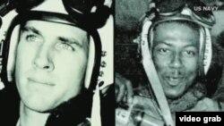 长津湖之战时任海军中尉飞行员的哈德纳(左)与他的僚机飞行员布朗少尉
